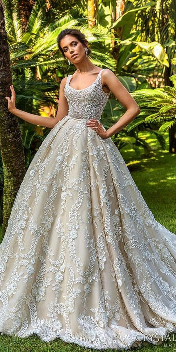 lace ball gown wedding dresses square with spaghetti straps floral beaded crystal desing