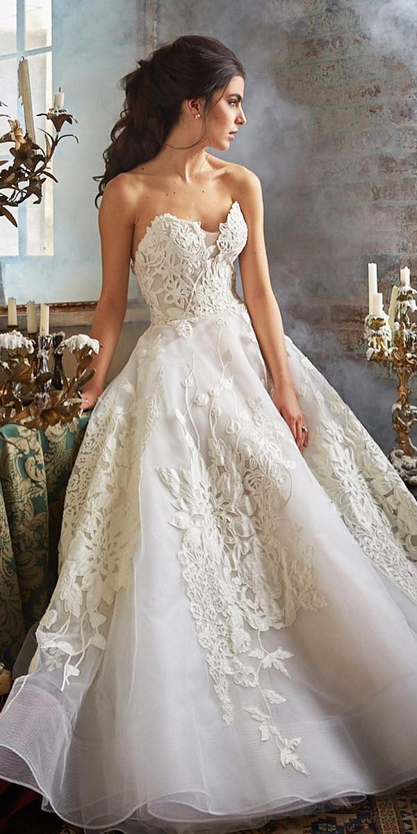lace ball gown wedding dresses sweetheart appliques isabelle armstrong