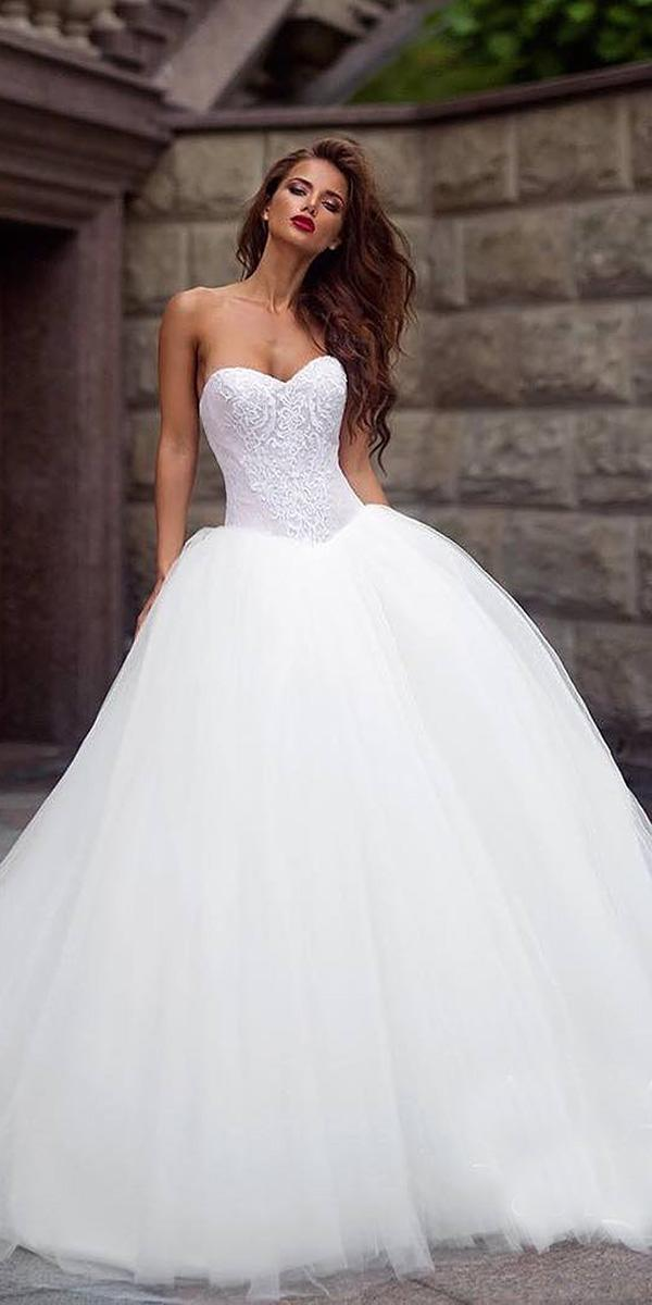 lace ball gown wedding dresses sweetheart floral top tulle skirt ariamo bridal