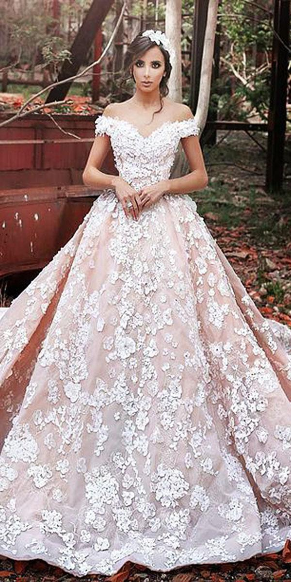 lace ball gown wedding dresses sweetheart off the shoulder floral appliques sadek majed couture