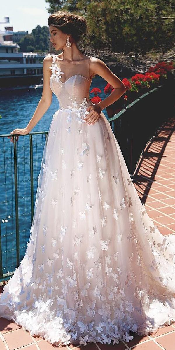 lace ball gown wedding dresses sweetheart one shoulder floral appliques viero bridal