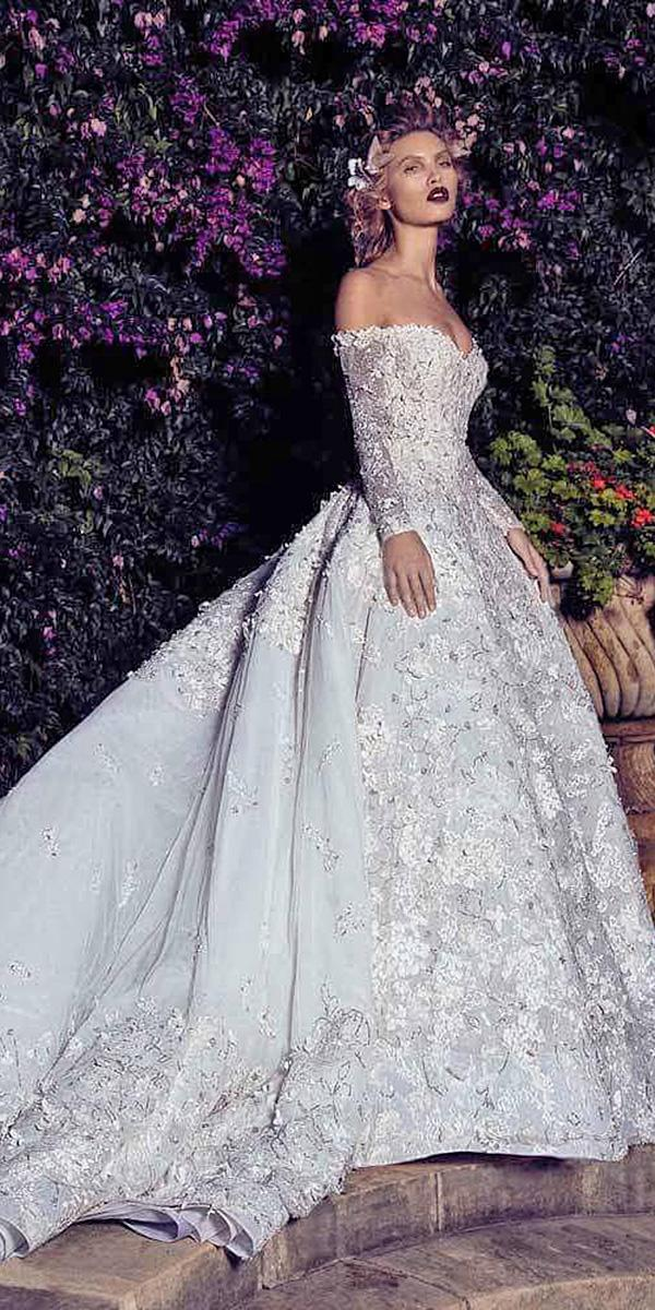 lace ball gown wedding dresses sweetheart with sleeves floral appliques with train saiid kobeisy