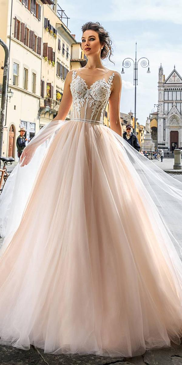 lace ball gown wedding dresses sweetheart with spaghetti straps blush innocentia dresses