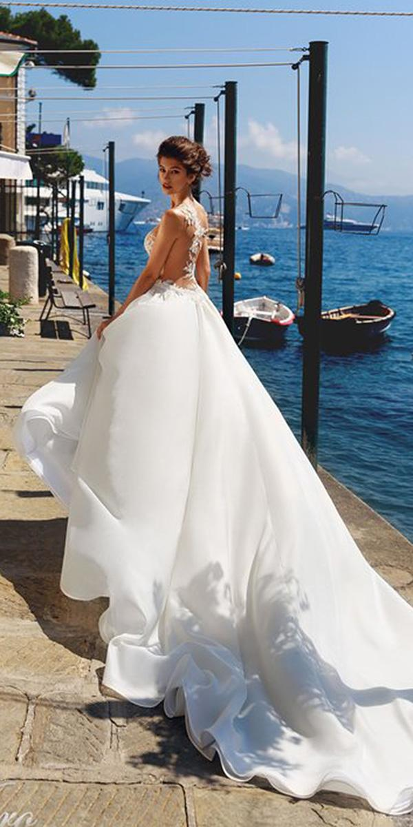 lace ball gown wedding dresses tatto effect back satin skirt with train vierdo bridal