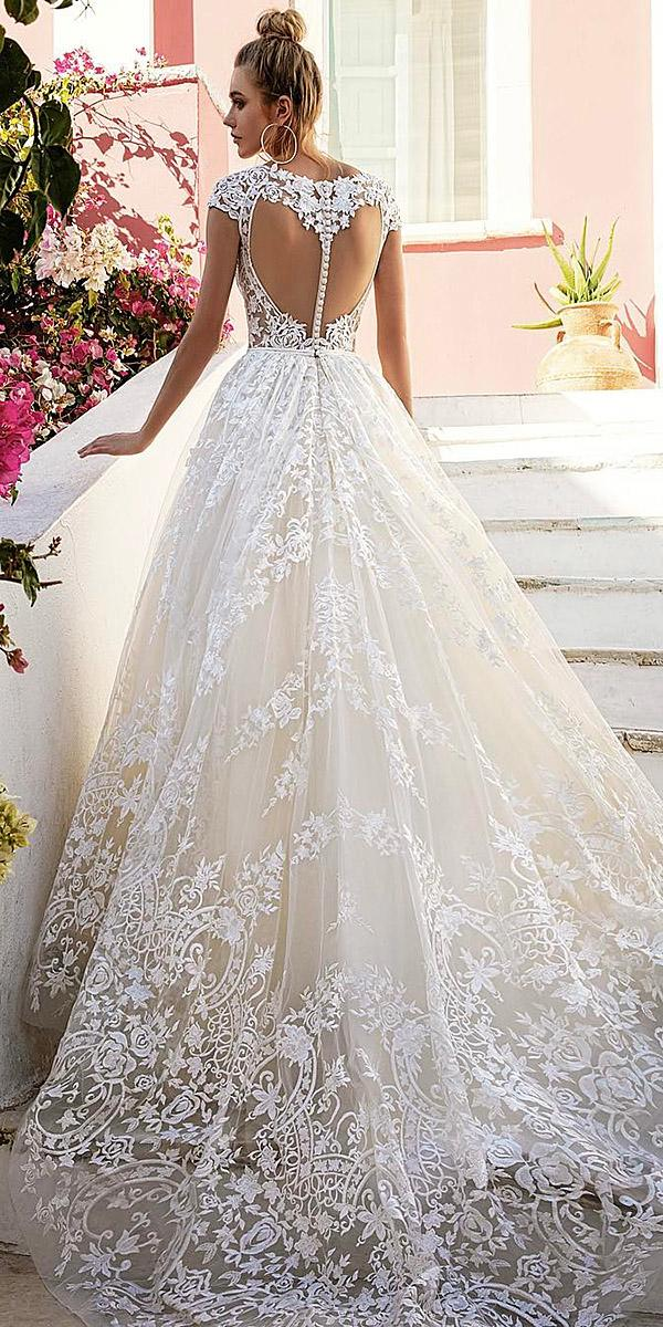 lace ball gown wedding dresses with cap sleeves back foral embellishment eva lendel
