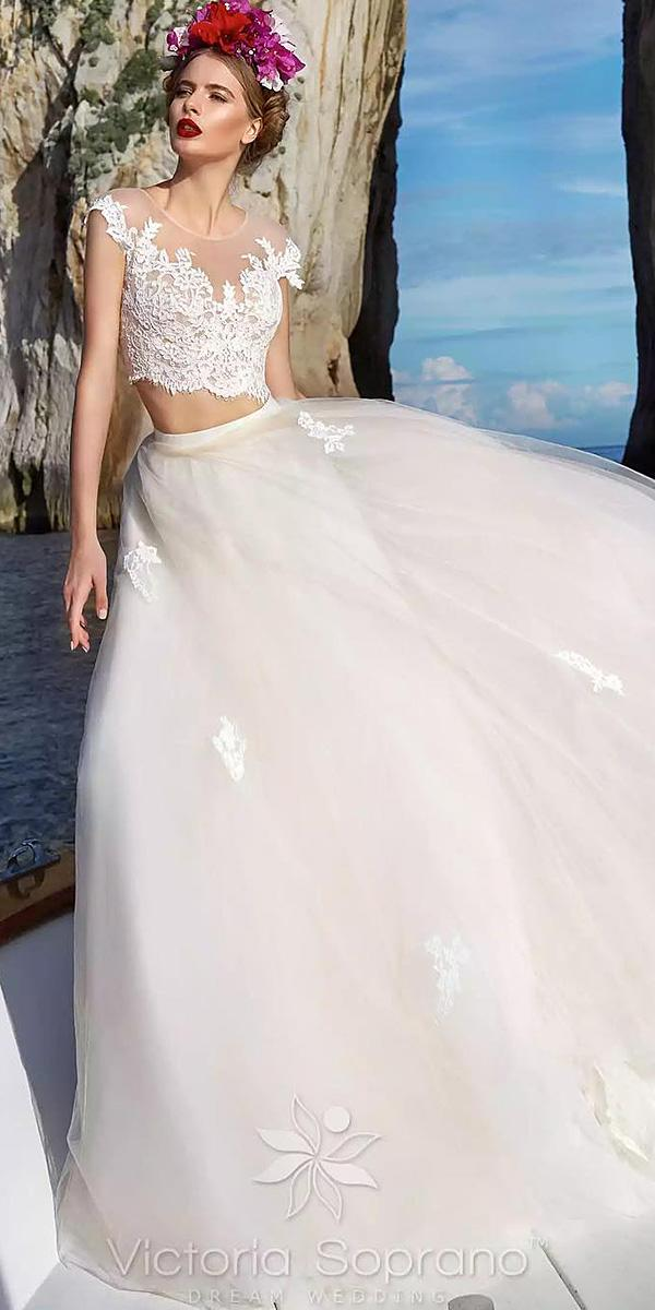 lace ball gown wedding dresses with cap sleeves separates tulle skirt victoria soprano