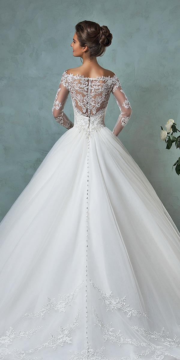 lace ball gown wedding dresses with illusion back long sleeves amelia sposa