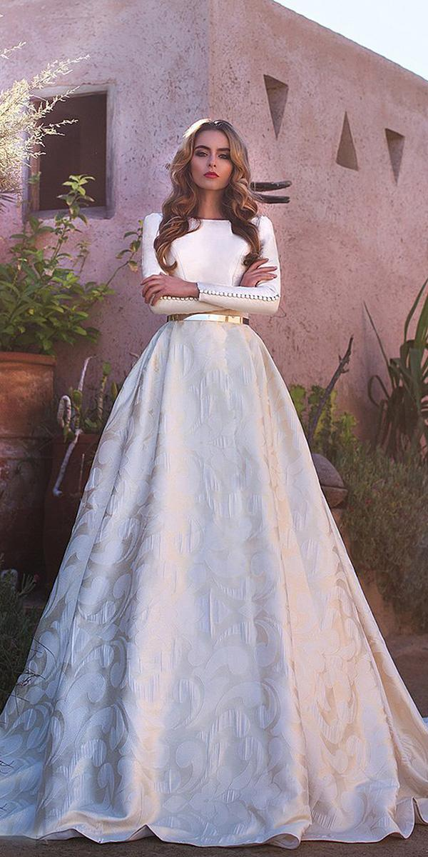 lace ball gown wedding dresses with long sleeves jewel neck gold belt floral embellishment lorenzo rossi