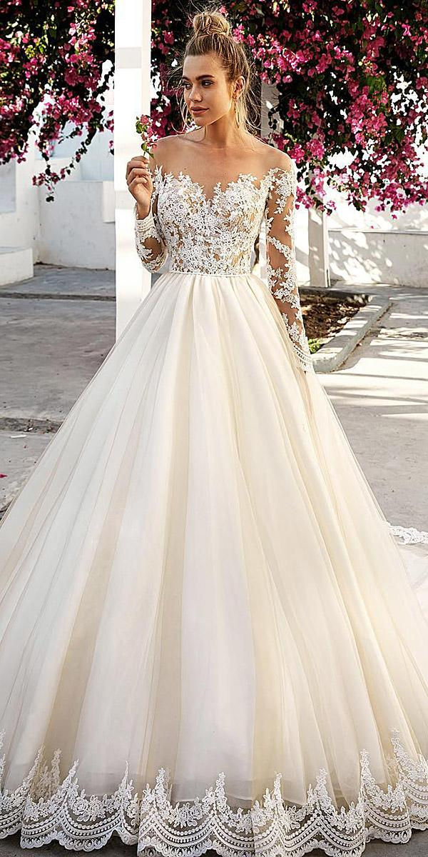 lace ball gown wedding dresses with long sleeves sweetheart embellishment eva lendel