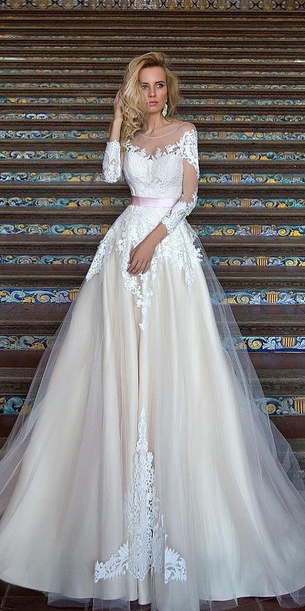 lace ball gown wedding dresses with long sleeves sweetheart rose belt oksana mukha