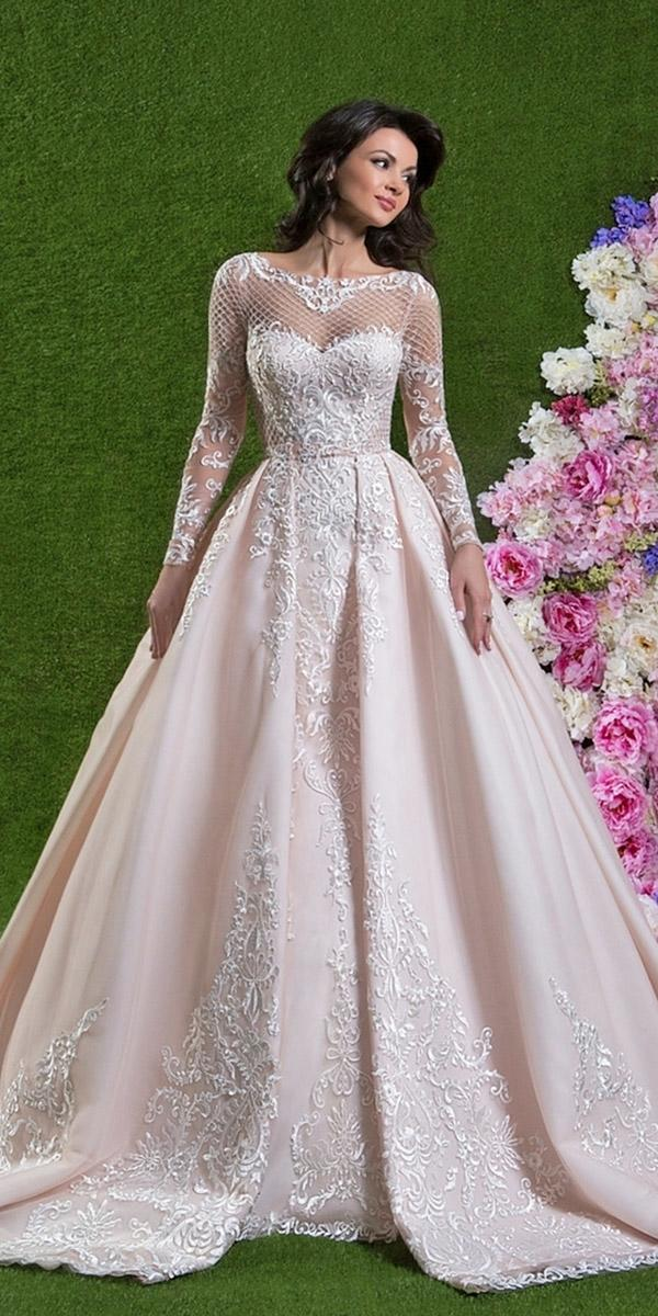 lace ball gown wedding dresses with long sleeves sweetheart sexy amelia sposa