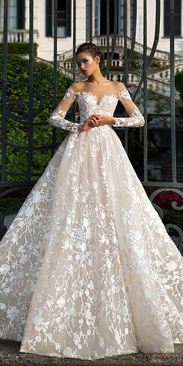 lace ball gown wedding dresses with sleeves sweetheart floral embellishment sexy milla nova