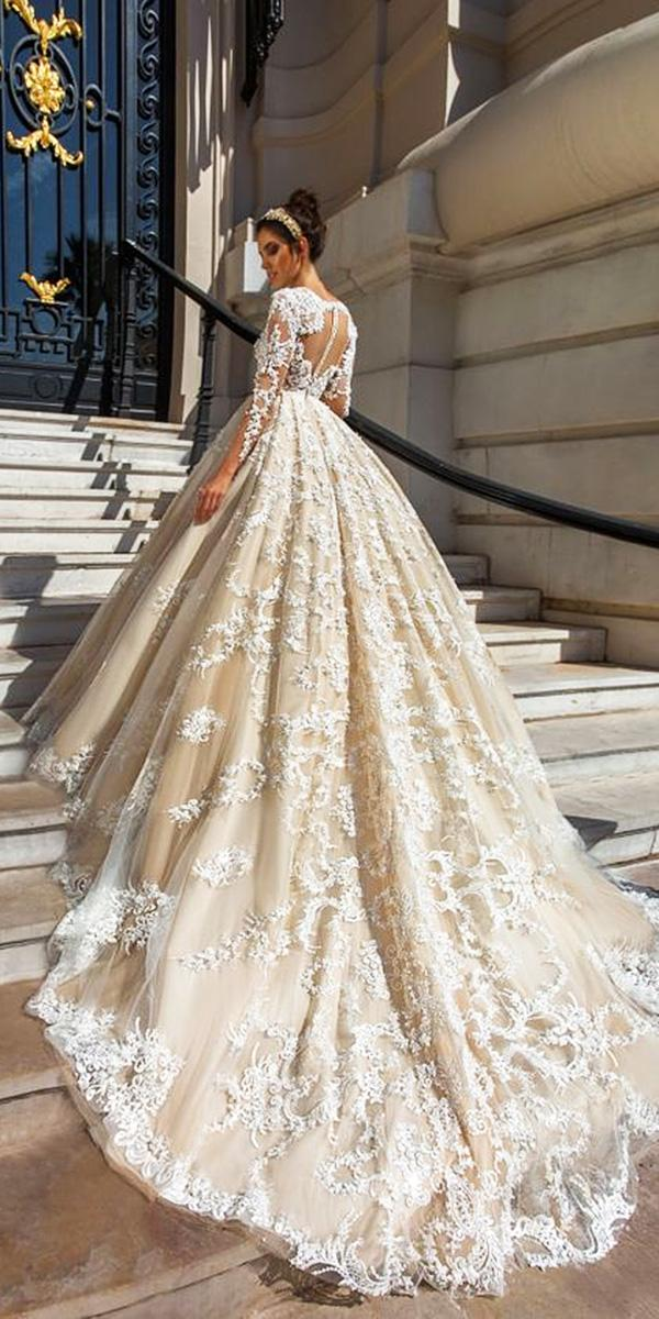 lace ball gown wedding dresses with sleeves tatto back with train ivory crystal desing