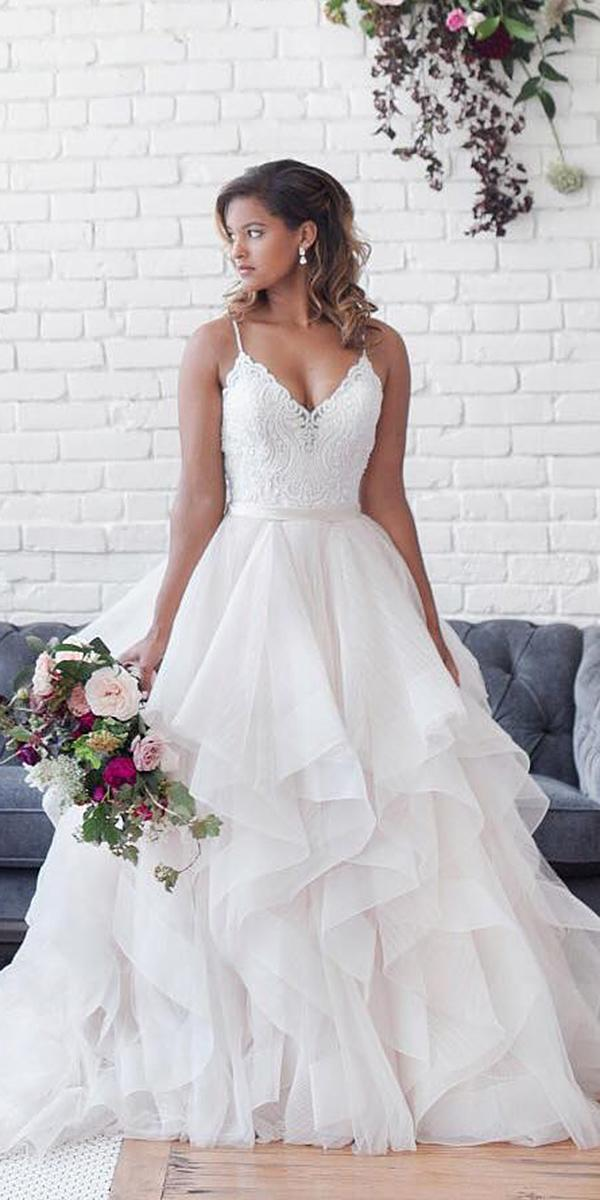 lace ball gown wedding dresses with spaghetti straps lace top ruffle skirt llure bridals