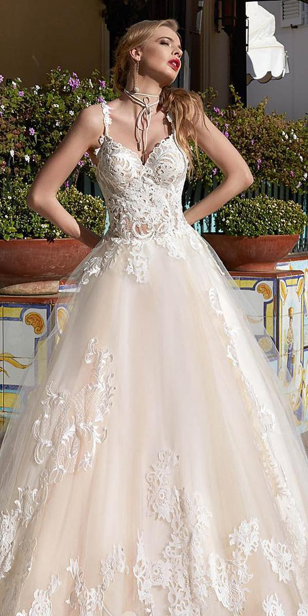 lace ball gown wedding dresses with spaghetti straps sweetheart victoria soprano