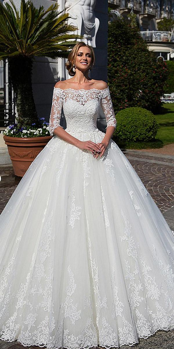 lace ball gown wedding dresses with three quote sleeves full floral embellishment lussano bridal