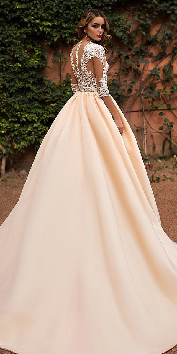 lace ball gown wedding dresses with three quote sleeves tatto effect back blush satin skirt lorenzo rossi