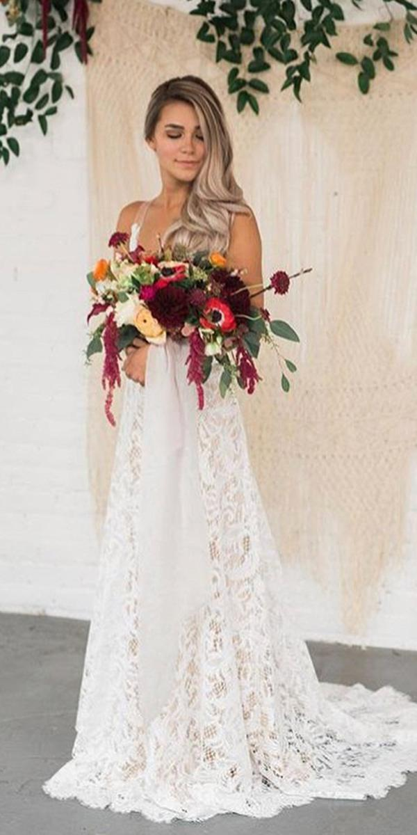 lace boho wedding dresses a line romantic willow by watters