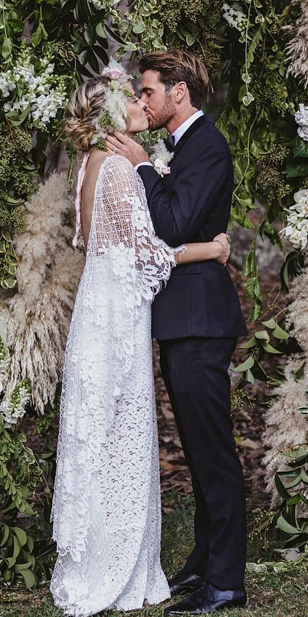 lace boho wedding dresses low back with sleeves vintage grace loves lace