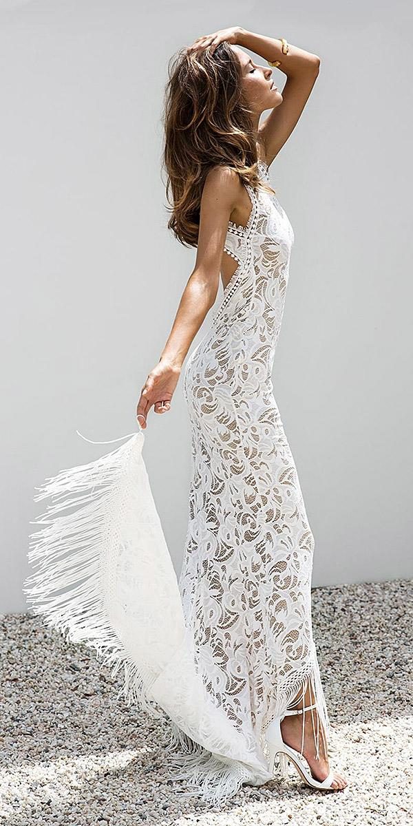 lace boho wedding dresses sheath floral embellishment beach with train grace loves lace