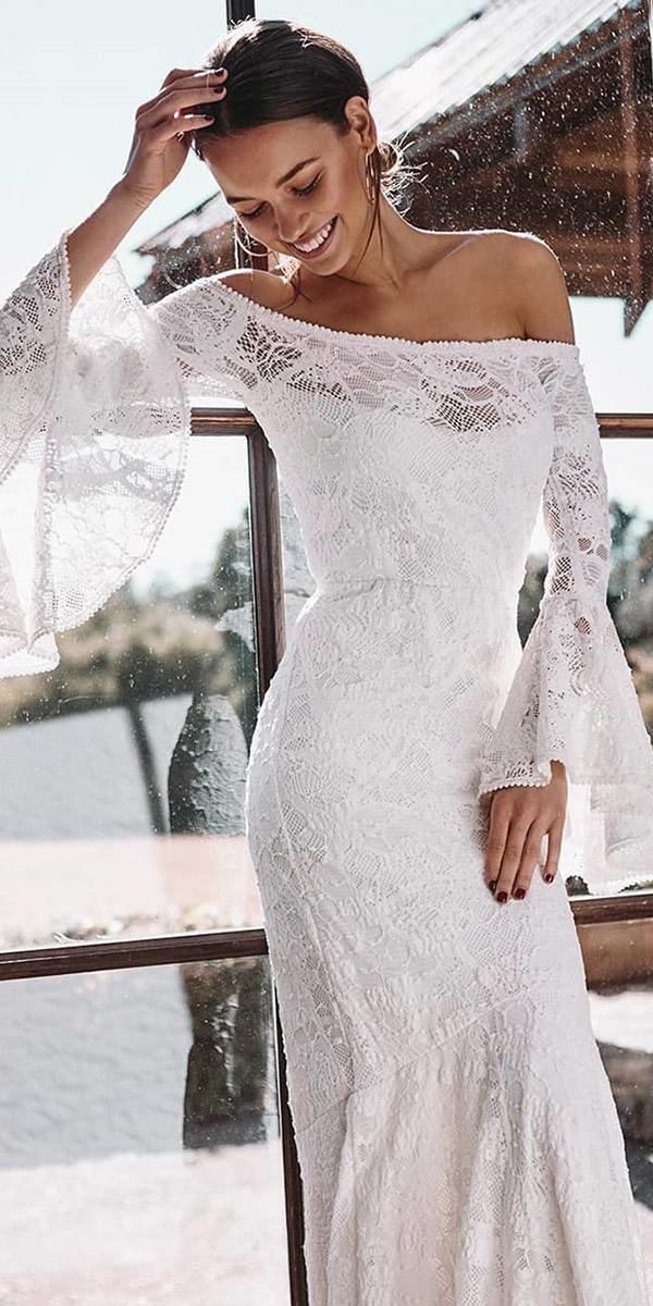 lace boho wedding dresses sheath with long sleeves off the shoulder lace grace loves lace