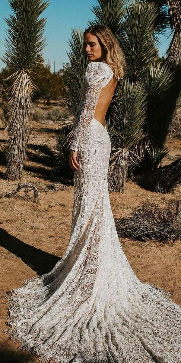 lace boho wedding dresses sheath with long sleeves open back vintage daughters of simone