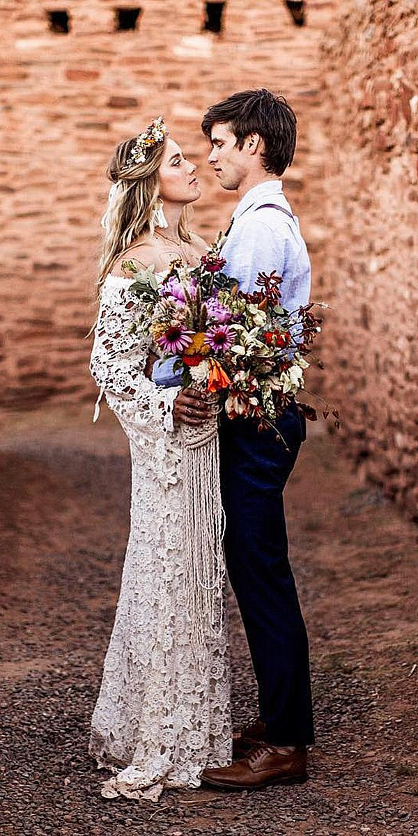 lace boho wedding dresses sheath with long sleeves vintage embellishment dreamers and lovers