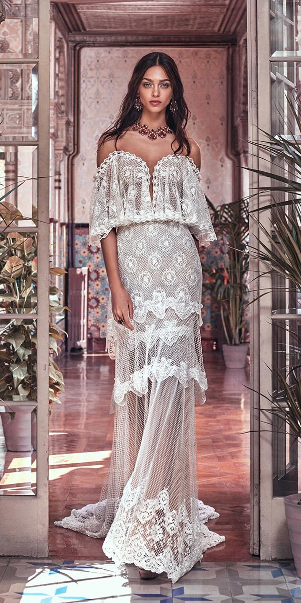 lace boho wedding dresses sweetheart lace off the shoulder gypsy galia lahav