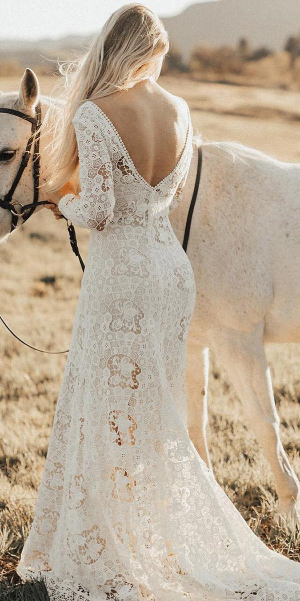 lace boho wedding dresses v back full lace barn rustic dreamers-and lovers