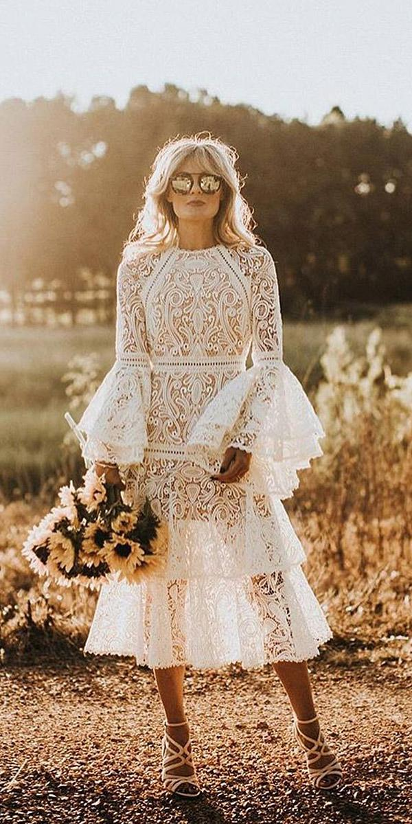 lace boho wedding dresses with long sleeves floral embellishment vintage russell heeter photographer