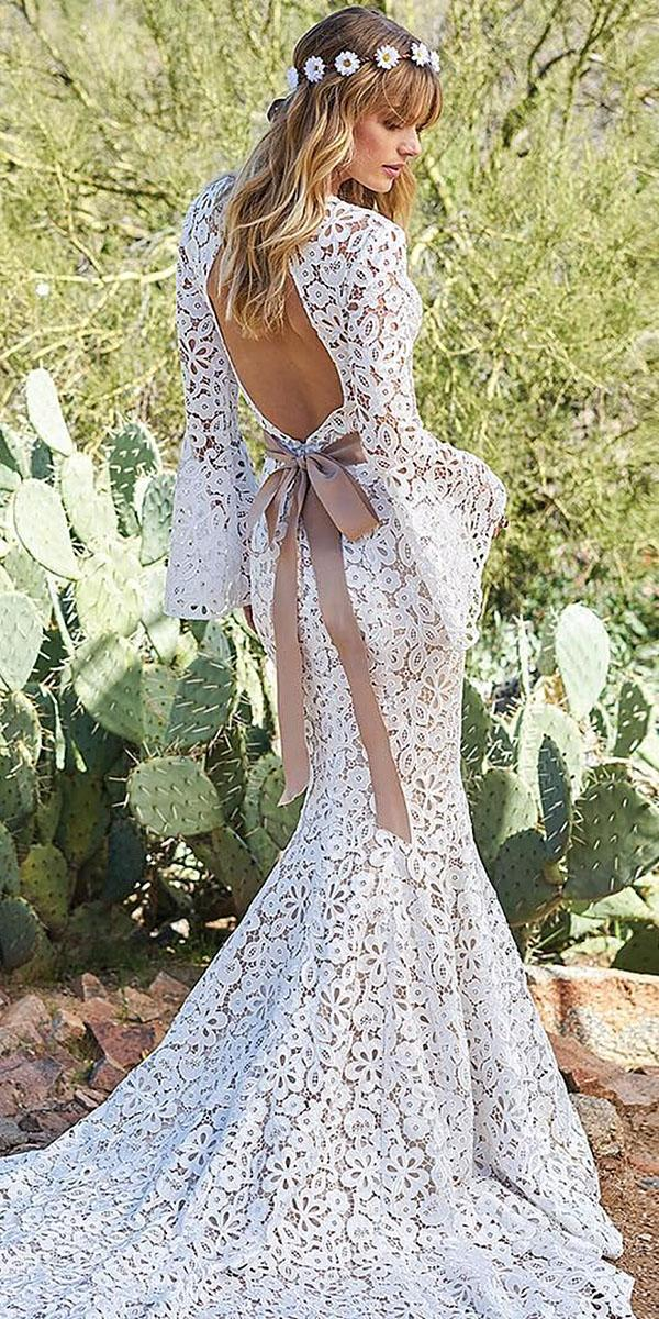 lace boho wedding dresses with long sleeves open back floral embellishment emily soto