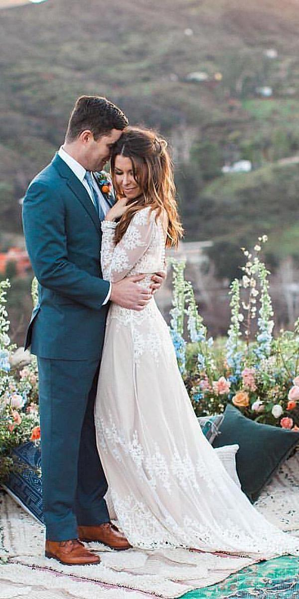 lace boho wedding dresses with sleeves floral embellishment beach dreamers and lovers