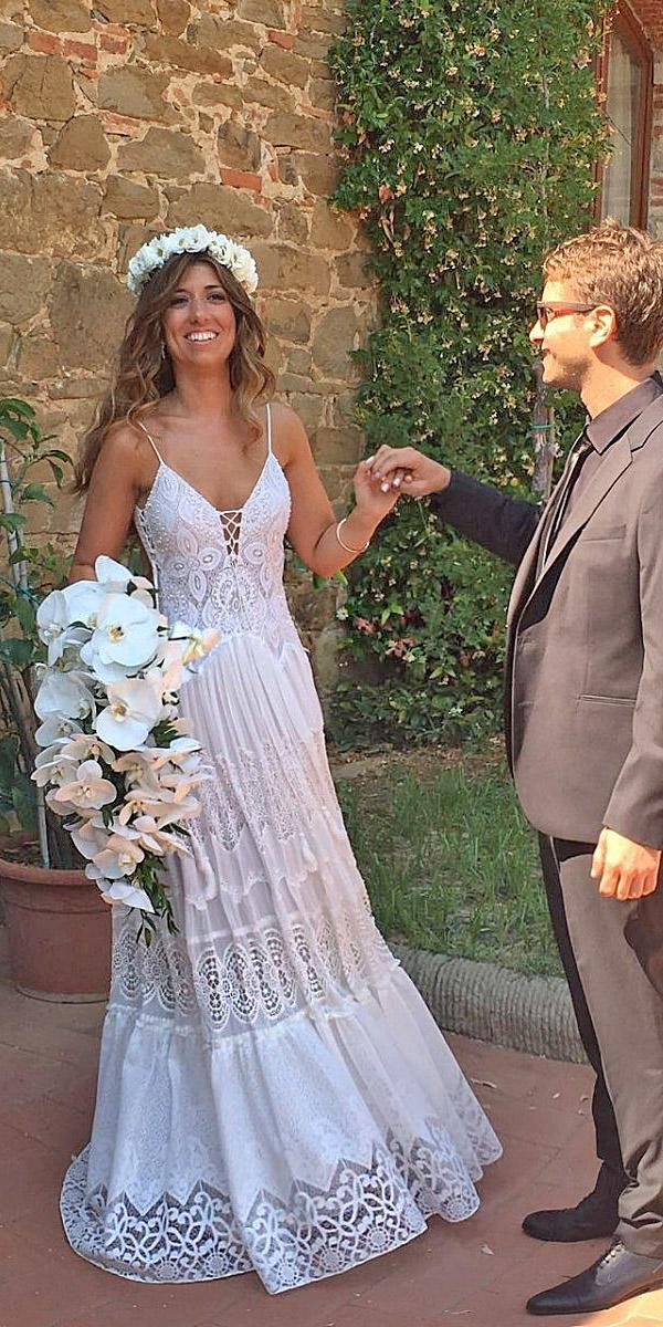 lace boho wedding dresses with spaghetti straps floral embelishment vintage inbal raviv