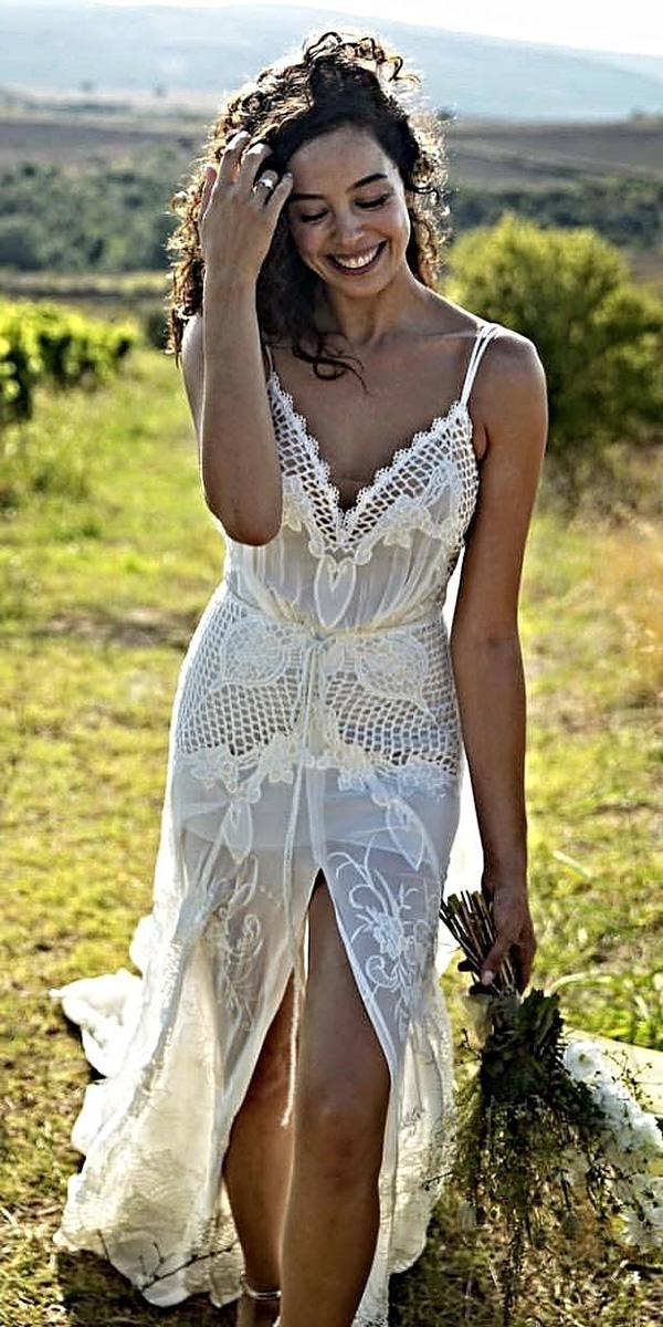 lace boho wedding dresses with spaghetti straps floral embellishment beach galia lahav