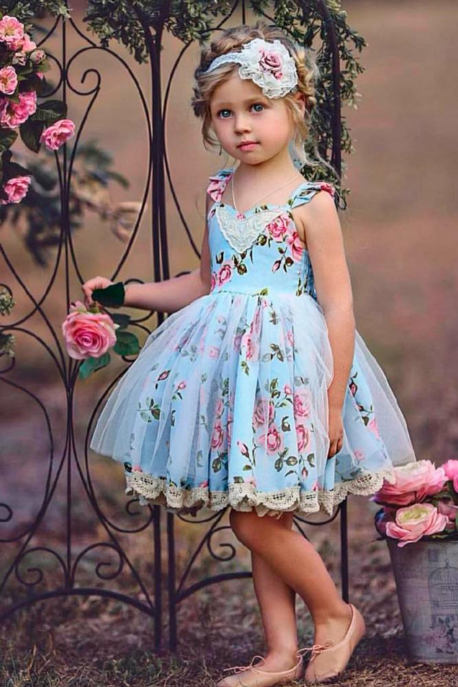 lace flower girl dresses blue old short sleeveless old classic