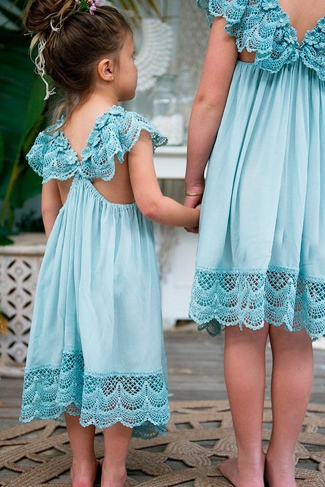 lace flower girl dresses blue x cross back forever bliss