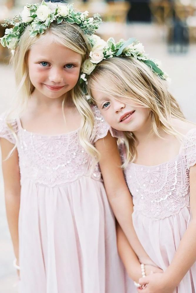 lace flower girl dresses blush with cap sleeves diana mc gregor