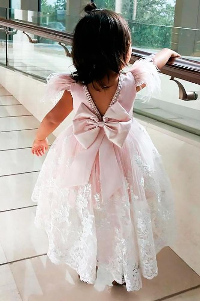lace flower girl dresses open back blush with big bows ittybittytoes
