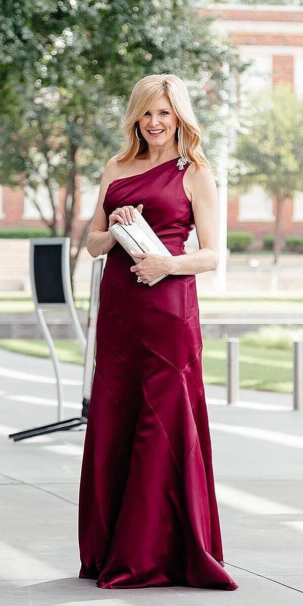 long mother of the bride dresses one shoulder simple burgundy color davids bridal