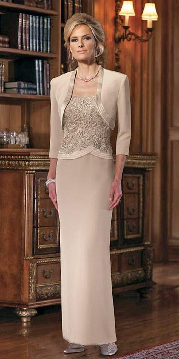 long mother of the bride dresses sheath with jacket mon cheri