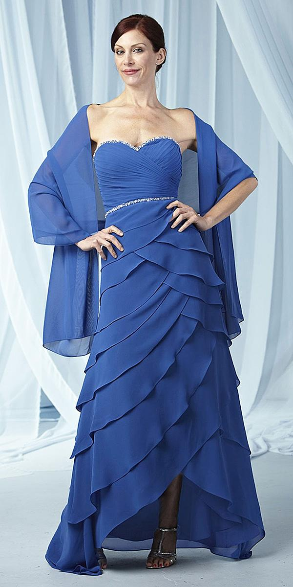 long mother of the bride dresses sweetheart ruffled skirt with cape jovani