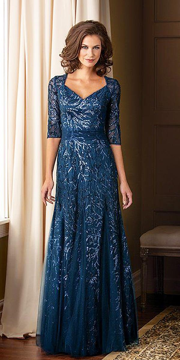 long mother of the bride and groom dresses v neck with three quote sleeeves sequin blue jade couture