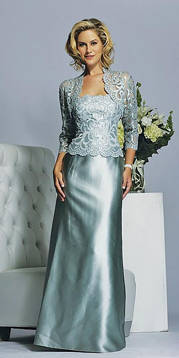 long mother of the bride dresses with lace jacket satin skirt jade couture