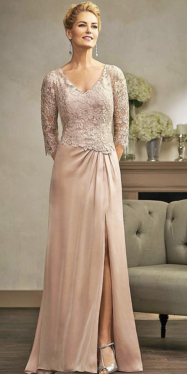 long mother of the bride dresses with sleeves lace top sheath skirt jasmine bridal