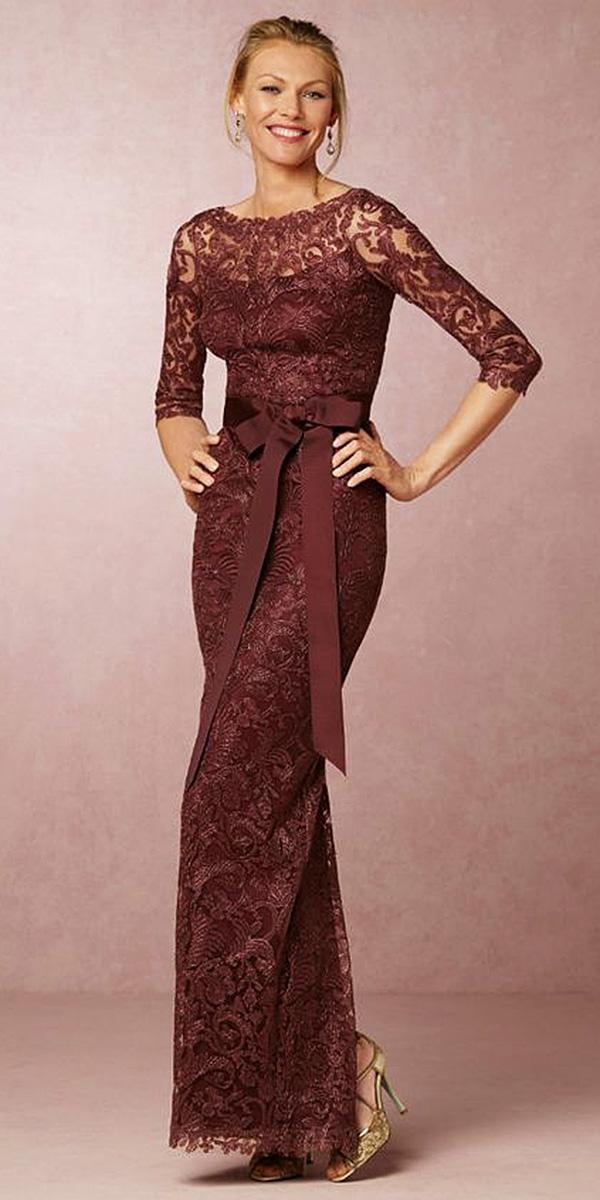 long mother of the bride dresses with three quate sleeves full lace with bow tadashi shoji photography