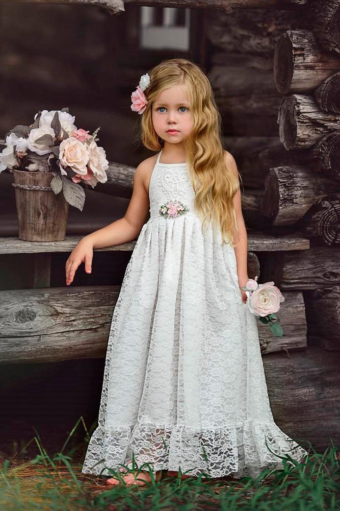 long rustic halter neck lace flower girl dresses old classic