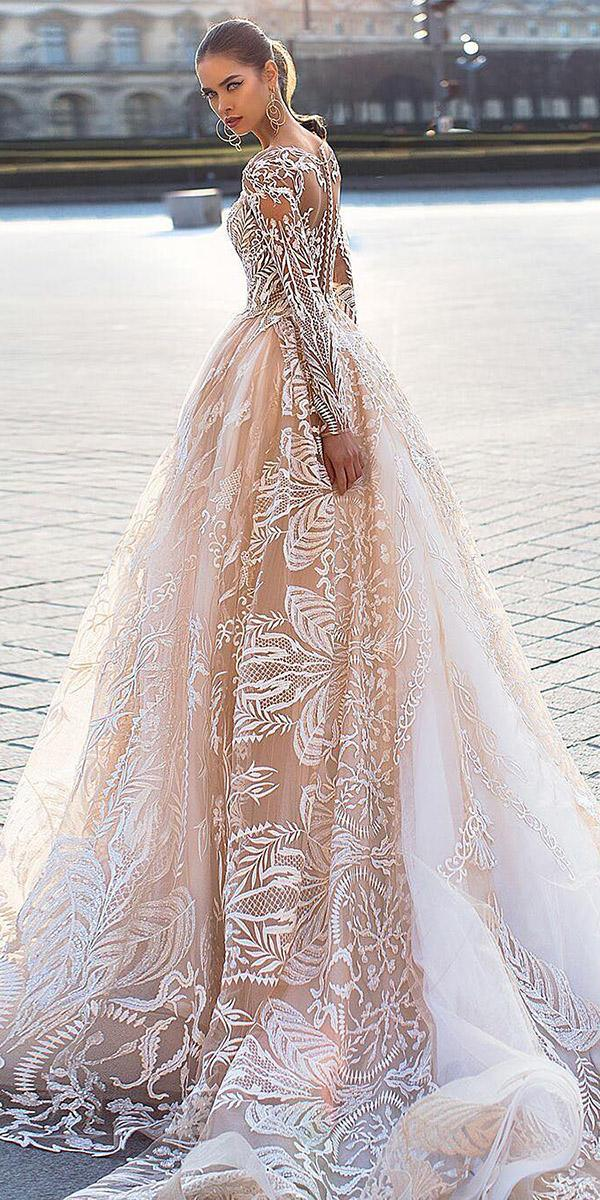 lorenzo rossi wedding dresses 2017 princess with illusion sleeves lace skirt nude colored