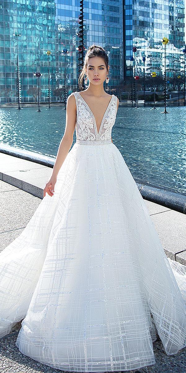 lorenzo rossi wedding dresses a line deep v neckline beaded sleeveless