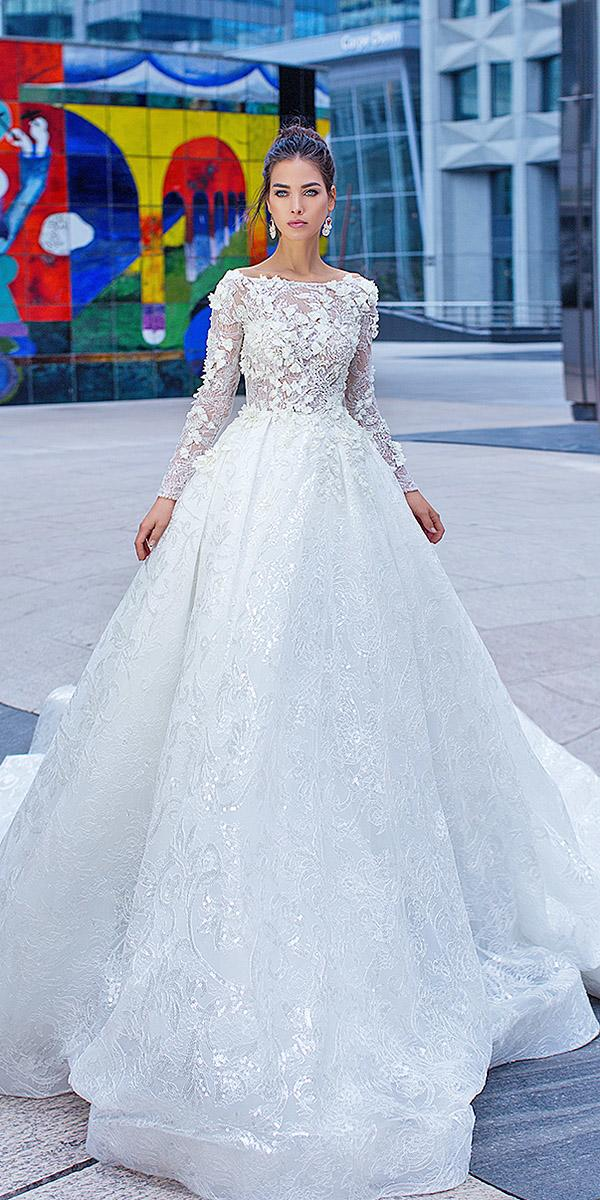 lorenzo rossi wedding dresses a line with long sleeves 3d floral jewel neckline