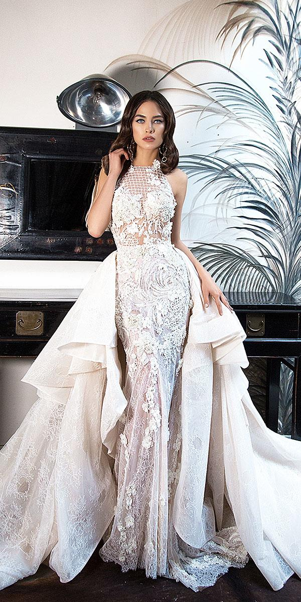 lorenzo rossi wedding dresses jewel neckline lace floral mesh embroidered overskirt 2017